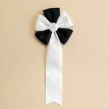 葬式やお別れ会、偲ぶ会、社葬等で胸につける白黒の胸章リボン【弔リボン<五方>】(白黒胸章) 弔五方(白黒五方徽章)