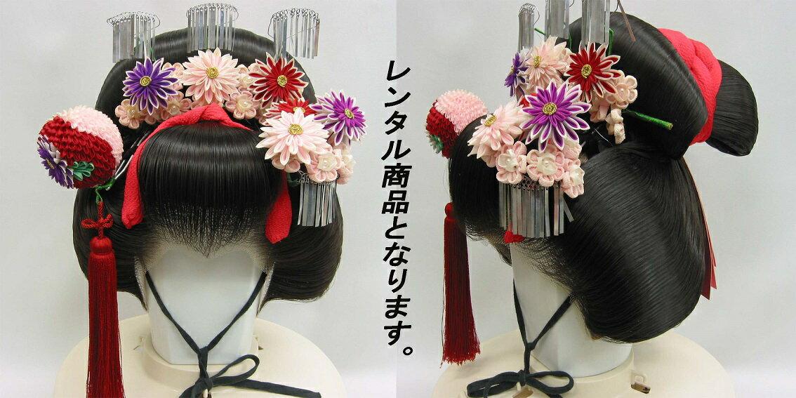 結綿 カツラ 祭 イベント 日本髪  宴会 舞台 パーティー(レンタル 黒色)
