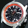 ORIENT/Chronograph【オリエント/クロノグラフ】メンズ腕時計 ブラック/レッド文字盤 ブラックラバーベルト MADE IN JAPAN 海外モデル STW01006B0
