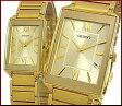 ORIENT【オリエント】スタンダード クォーツ ペアウォッチ 腕時計 ゴールド文字盤 ゴールドメタルベルト Made in JAPAN SUNEF006C0/SUBTT006C0