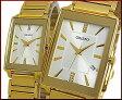 ORIENT【オリエント】スタンダード クォーツ ペアウォッチ 腕時計 シルバー文字盤 ゴールドメタルベルト Made in JAPAN SUNEF007W0/SUBTT007W0