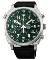 ORIENT/Chronograph【オリエント/クロノグラフ】メンズ腕時計ダークグリーン文字盤ブラウンレザーベルトMADEINJAPAN海外モデルSTT17004F0