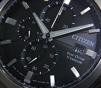 CITIZEN/Chronograph【シチズン/クロノグラフ】チタンモデルメンズソーラー腕時計ブラック文字盤メタルベルトCA0021-53E(海外モデル)【楽ギフ_包装選択】【02P01Jun14】