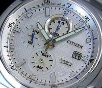 CITIZEN/Chronograph【シチズン/クロノグラフ】チタンモデルメンズソーラー腕時計ホワイト文字盤メタルベルトCA0190-56B(海外モデル)【_包装選択】【02P01Jun14】