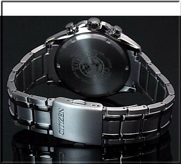 CITIZEN/Chronograph【シチズン/クロノグラフ】チタンモデル メンズ ソーラー腕時計 ブラック文字盤 メタルベルト CA0341-52E MADE IN JAPAN 海外モデル【並行輸入品】