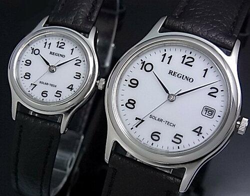 CITIZEN/REGUNOペアウォッチ ソーラー腕時計 ホワイト文字盤 ブラックレザーベ...