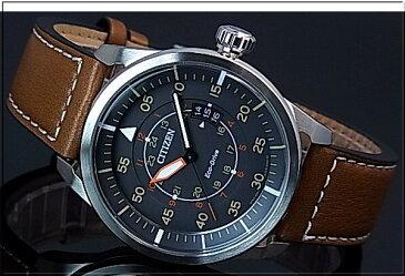 CITIZEN/Standard【シチズン/スタンダード】メンズ ソーラー腕時計 グレー文字盤 ブラウンレザーベルト AW1360-12H 海外モデル【並行輸入品】