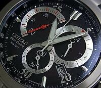 CITIZEN/Chronograph【シチズン/クロノグラフ】メンズソーラー腕時計ブラック文字盤メタルベルトAT1007-51E(海外モデル)