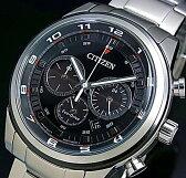 CITIZEN/Chronograph【シチズン/クロノグラフ】メンズ ソーラー腕時計 ブラック文字盤 メタルベルト CA4034-50E(海外モデル)