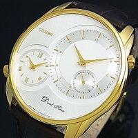 CITIZEN/DualTime【シチズン/デュアルタイム】メンズ腕時計ゴールドケースシルバー文字盤ダークブラウンレザーベルトAO3008-07A(海外モデル)