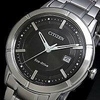 CITIZEN/Standard【シチズン/スタンダード】ペアウォッチソーラー腕時計ブラック文字盤メタルベルトAW1080-51E/FE1030-50E(海外モデル)