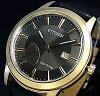 CITIZEN/Standard【シチズン/スタンダード】メンズソーラー腕時計パワーリザーブ付ゴールドケースガンメタ文字盤ブラックレザーベルト(海外モデル)AW7013-05H
