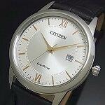 CITIZEN/Standard【シチズン/スタンダード】メンズソーラー腕時計シルバー/ゴールド文字盤ブラックレザーベルト海外モデル【並行輸入品】AW1236-11A