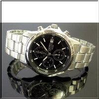 SEIKO/セイコー【クロノグラフ】メンズ腕時計ブラック文字盤メタルベルトSND367