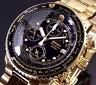 SEIKO/Alarm Chronograph【セイコー/アラームクロノグラフ】パイロット メンズ腕時計 ゴールド メタルベルト ブラック文字盤 SNA414P1 (海外モデル)【02P03Dec16】