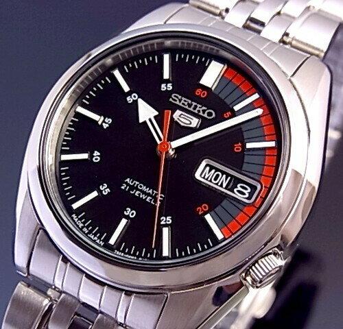 ce73fd46be ... アルマーニ   /SEIKO5   セイコー5   /セイコーファイブ   自動巻 メンズ腕時計 メタルベルト ブラック文字盤  SNK375J1 MADE IN JAPAN 海外モデル   並行輸入品