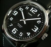 【TIMEX/タイメックス】メンズビッグイージーリーダーブラック文字盤ブラックレザーベルト【送料無料】T28071