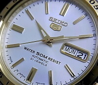 SEIKO/SEIKO5【セイコー5/セイコーファイブ】ペアウォッチ自動巻腕時計コンビメタルベルトシルバー文字盤SNKE04J1/SYMG42J1MADEINJAPAN海外モデル