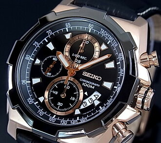 SEIKO / Seiko chronograph men's watch black leather belt black / pink gold letter Edition SNDD56P1 overseas model 02P28oct13