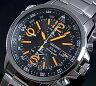 SEIKO/Alarm Chronograph【セイコー/アラームクロノグラフ】メンズ ソーラー腕時計 メタルベルト ブラック/オレンジ文字盤 SSC077P1 海外モデル【02P03Dec16】