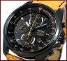 SEIKO/Chronograph【セイコー/クロノグラフ】メンズ腕時計 ライトブラウンレザーベルト ブラック文字盤 SNDD69P1 海外モデル