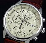 SEIKO/セイコー【クロノグラフ】メンズ腕時計ブラウンレザーベルトアイボリー文字盤SNDC31P1海外モデル【楽ギフ_包装選択】【YDKG-k】
