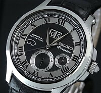 SEIKO/セイコー【Premier/プルミエ】キネテックパーペチュアルカレンダーメンズ腕時計ブラックレザーベルトブラック/グレー文字盤SNP049P1海外モデル【_包装選択】