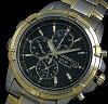 SEIKO/セイコー【アラームクロノグラフ】メンズソーラー腕時計コンビメタルベルトブラック文字盤SSC142P1海外モデル【楽ギフ_包装選択】