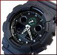 CASIO/G-SHOCK【カシオ/Gショック】Military black series/ミリタリーブラック・シリーズ アナデジ メンズ腕時計(海外モデル)GA-100MB-1A