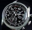 SEIKO/Alarm Chronograph【セイコー/アラームクロノグラフ】パーペチュアル メンズ腕時計 ブラックレザーベルト ブラック文字盤 SPC133P1 (海外モデル)