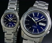 SEIKO/SEIKO5【セイコー5/セイコーファイブ】ペアウォッチ 自動巻腕時計 メタルベルト ネイビー文字盤 MADE IN JAPAN 海外モデル SNKE51J1/SYMK15J1