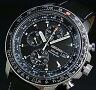 SEIKO/Alarm Chronograph【セイコー/アラームクロノグラフ】パイロット メンズ ソーラー腕時計 ブラックレザーベルト ブラック文字盤 SSC009P3 海外モデル