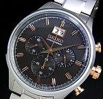 SEIKO/Chronograph【セイコー/クロノグラフ】メンズ腕時計メタルベルトグレー/ピンクゴールド文字盤SPC151P1(海外モデル)【楽ギフ_包装選択】