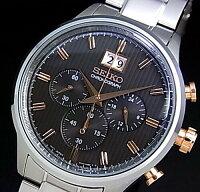 SEIKO/Chronograph【セイコー/クロノグラフ】メンズ腕時計メタルベルトグレー/ピンクゴールド文字盤SPC151P1(海外モデル)【_包装選択】