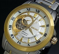 SEIKO/Premier【セイコー/プルミエ】自動巻メンズ腕時計コンビメタルベルトシルバー文字盤MADEINJAPAN海外モデルSSA216J1【_包装選択】