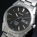 SEIKO/Quartz【セイコー/クォーツ】軽量チタンモデルメンズ腕時計メタルベルトブラック文字盤SGG731P1海外モデル【楽ギフ_包装選択】
