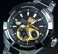 SEIKO/VELATURA【セイコー/ベラチュラ】Kinetic/キネテッククメンズ腕時計ブラックベゼルブラック/ゴールド文字盤メタル/ラバーコンビベルトSNP119P1(海外モデル)