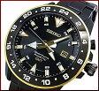 SEIKO/Sportura【セイコー/スポーチュラ】メンズ腕時計 キネティック GMT ブラック/ゴールド文字盤 ブラックメタルベルト SUN026P1(海外モデル)