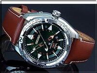 SEIKO/PROSPEX【セイコー/プロスペックス】キネテックGMTメンズ腕時計グリーン文字盤ブラウンレザーベルトSUN051P1(海外モデル)