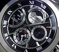 SEIKO/Premier【セイコー/プルミエ】ダイレクトドライブキネテッククメンズ腕時計ブラック文字盤メタルベルトSRX013P1(海外モデル)