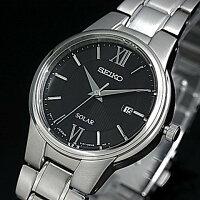 SEIKO/ソーラー時計【セイコー】レディース腕時計メタルベルトブラック文字盤SUT229P1海外モデル