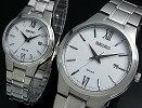 SEIKO/ソーラー時計【セイコー】ペアウォッチ腕時計メタルベルトホワイト文字盤SNE385P1/SUT227P1海外モデル