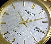 SEIKO/Quartz【セイコー/クォーツ】メンズ腕時計ゴールドメタルベルトシルバー文字盤SUR198P1海外モデル