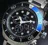 SEIKO/PROSPEX【セイコー/プロスペックス】メンズ DIVER'S/ダイバーズウォッチ クロノグラフ メンズ ソーラー腕時計 ブラック/ブルーベゼル メタルベルト ブラック文字盤 SSC017P1 海外モデル