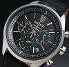 SEIKO/Chronograph【セイコー/クロノグラフ】メンズ腕時計ブラックレザーベルトブラック文字盤SSB159P1海外モデル
