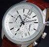 SEIKO/Chronograph【セイコー/クロノグラフ】メンズ腕時計ブラウンレザーベルトシルバー文字盤SSB157P1海外モデル
