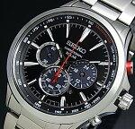 SEIKO/Chronograph【セイコー/クロノグラフ】メンズソーラー腕時計メタルベルトブラック文字盤SSC493P1海外モデル