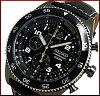 SEIKO/Chronograph【セイコー/クロノグラフ】メンズ腕時計ブラックケースブラックレザーベルトブラック文字盤SNDG61P1海外モデル