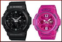 CASIO/G-SHOCK/Baby-G【カシオ/Gショック/ベビーG】ペアウォッチアナデジモデル腕時計ブラック/ピンク(国内正規品)GA-150-1AJF/BGA-210-4B2JF