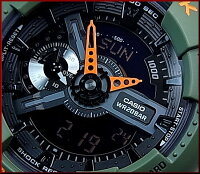 CASIO/G-SHOCK【カシオ/Gショック】LayeredNeonColor/レイヤード・ネオンカラーアナデジメンズ腕時計グリーン/オレンジ(国内正規品)GA-110LN-3AJF